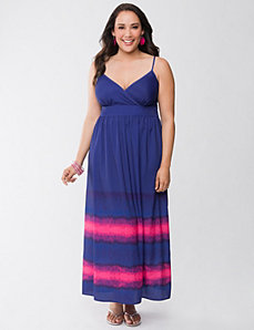 Striped hem maxi dress