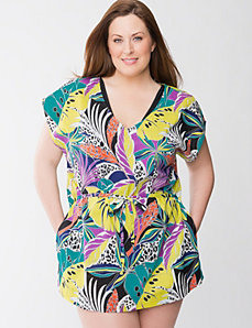 Tropical floral cover up tunic