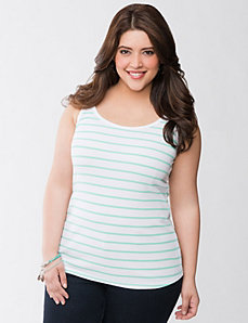 Striped ribbed tank by LANE BRYANT