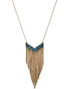 Stone & fringe necklace by Lane Bryant