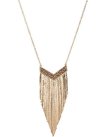 Stone & fringe necklace by Lane Bryant