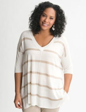 Striped silk blend top