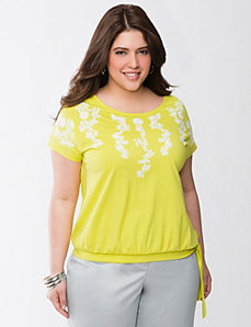 Embroidered side-tie tee by LANE BRYANT