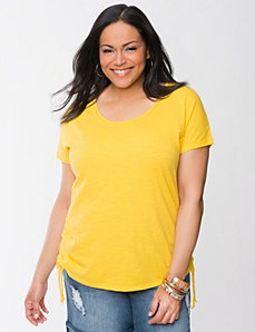 Shirred scoop neck tee by LANE BRYANT