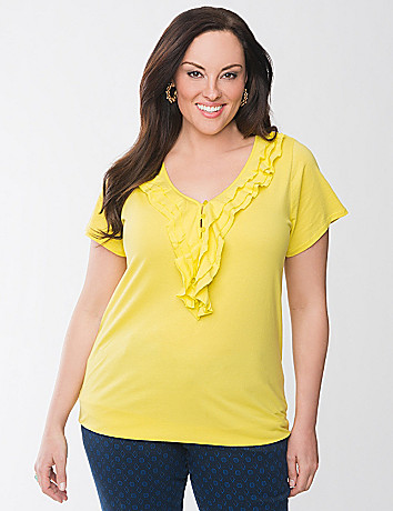 Ruffled henley top by Lane Bryant