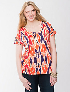 Ikat shirred tee by LANE BRYANT