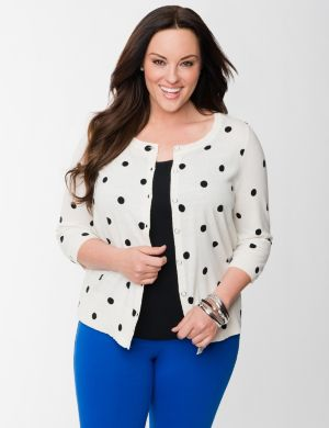 Polka dot cropped cardigan