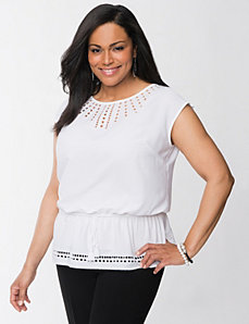Eyelet peplum top by Lane Bryant