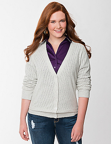 Plus Size Drop Stitch Cardigan by Lane Bryant