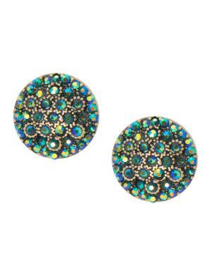 Cubic zirconium button earrings by Lane Bryant