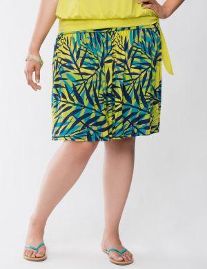 Palm print flippy skirt