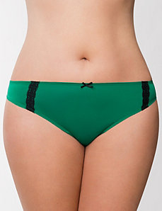 Lace trim thong panty by LANE BRYANT