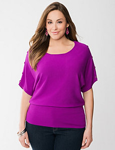 Button shoulder dolman sweater