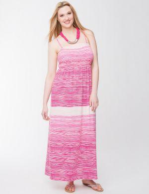 Smocked slub maxi dress