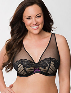 Chevron mesh full coverage bra