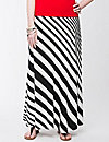 Diagonal striped maxi skirt