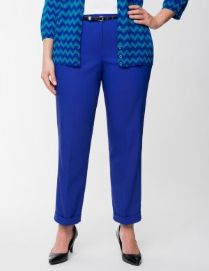 Belted double weave ankle pant