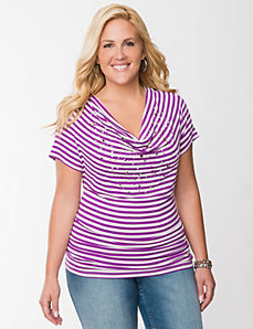 Embellished striped dolman top