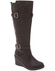 Buckled wedge boot by LANE BRYANT