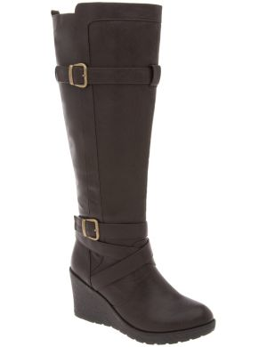 Buckled wedge boot
