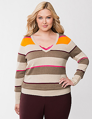 Plus Size V Neck Sweater by Lane Bryant