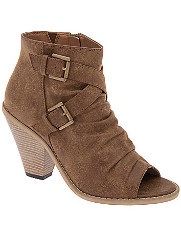 Ruched peep toe bootie