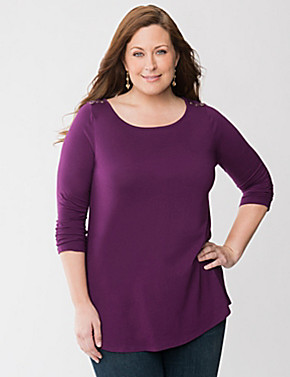 Sexy Plus Size Outfit: Button Shoulder Tunic