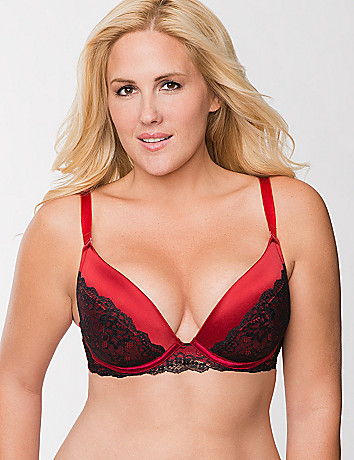 Satin push up plunge bra with lace