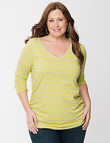 Ruched striped tee
