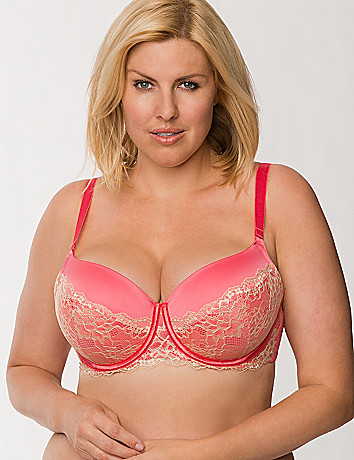 Satin push up balconette bra with lace