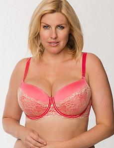 Satin push up balconette bra with lace by LANE BRYANT