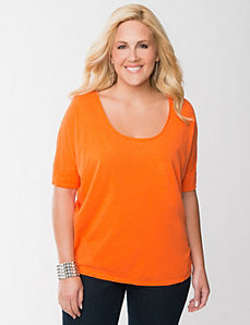 Zip back wedge tee by LANE BRYANT