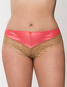 Satin & lace cheeky panty by LANE BRYANT