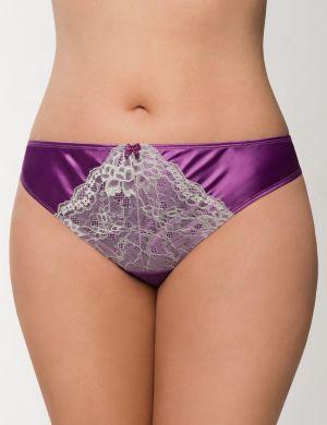 Satin & lace thong panty