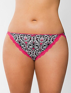 Sassy cotton string bikini with lace