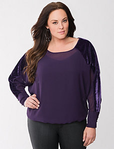 Lane Collection pieced dolman top