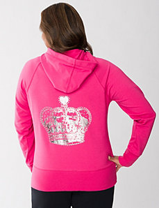 Crown embellished hoodie by LANE BRYANT