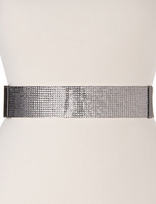Faceted stone stretch belt by LANE BRYANT