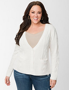 Cable knit high-low cardigan by LANE BRYANT