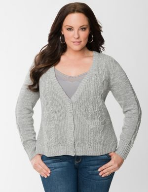 Cable knit high-low cardigan