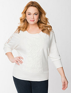 Lace kabuki sweater by LANE BRYANT