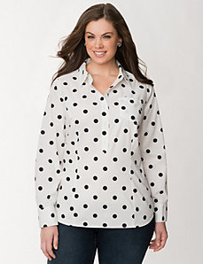 Polka dot popover shirt by LANE BRYANT