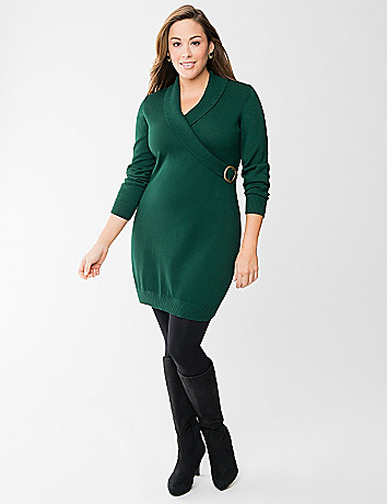 Faux wrap sweater dress