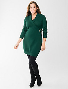 Faux wrap sweater dress by LANE BRYANT