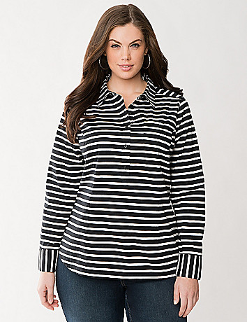 Striped popover shirt