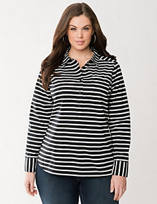 Striped popover shirt by LANE BRYANT