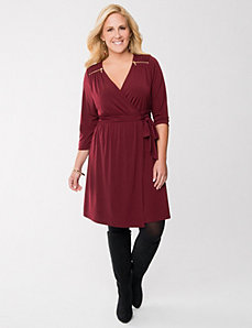 Wrap dress with zippers by Lane Bryant