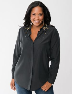 Soft Shirt with embellished collar