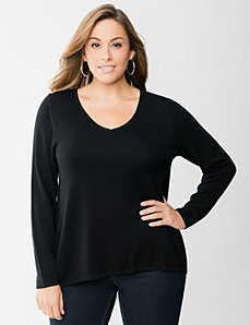 Zip back high-low sweater by LANE BRYANT