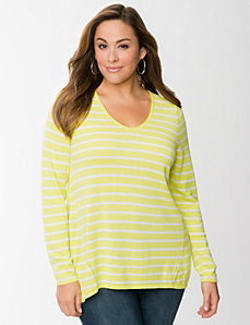 Striped zip back high low sweater by LANE BRYANT